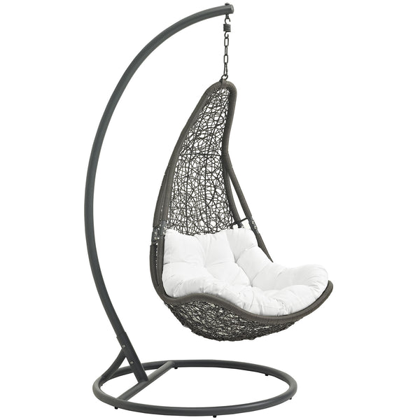 Abate Outdoor Patio Swing Chair With Stand - Gray White