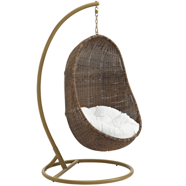 Bean Outdoor Patio Wood Swing - Coffee White
