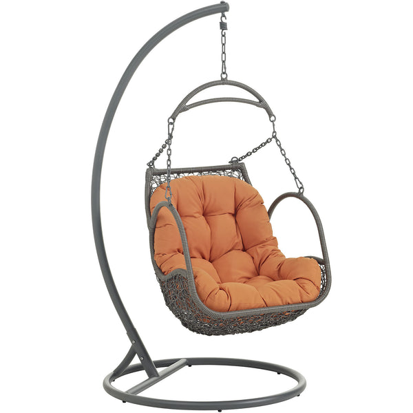 Arbor Outdoor Patio Wood Swing Chair - Orange
