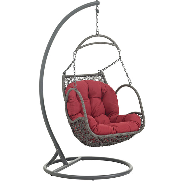 Arbor Outdoor Patio Wood Swing Chair - Red