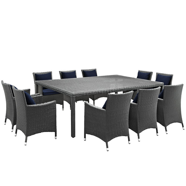 Sojourn 11 Piece Outdoor Patio Sunbrella® Dining Set - Canvas Navy