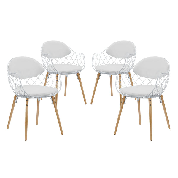 Basket Dining Set Set of 4 - White