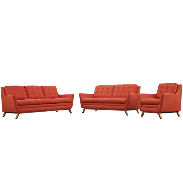 Beguile Living Room Set Fabric Set of 3 - Atomic Red