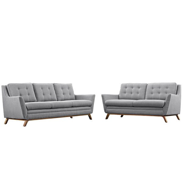 Beguile Living Room Set Fabric Set of 2 - Expectation Gray