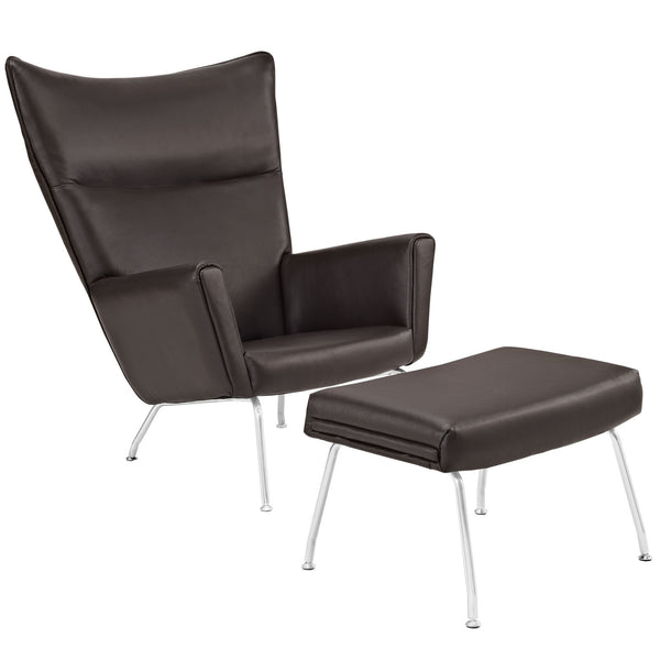 Class Leather Lounge Chair - Dark Brown