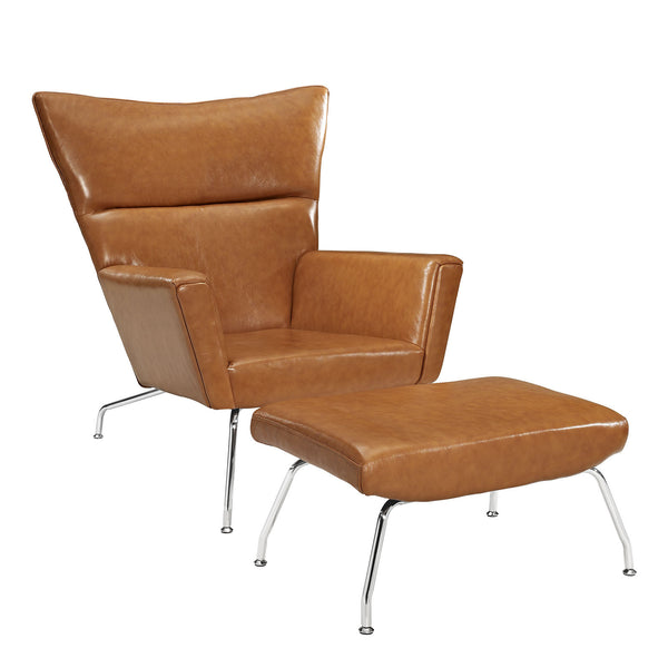 Class Leather Lounge Chair - Tan