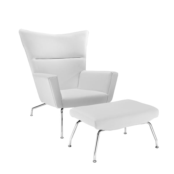 Class Leather Lounge Chair - White