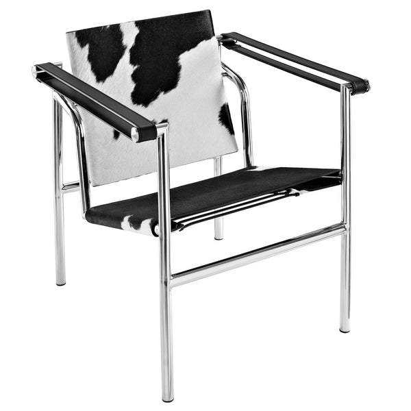 Charles Pony Hide Lounge Chair - Black And White