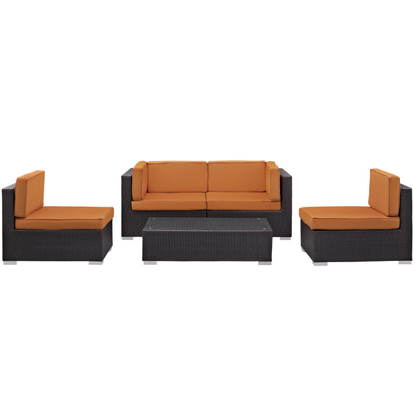 Camfora 5 Piece Outdoor Patio Sectional Set - Espresso Orange