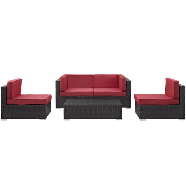 Camfora 5 Piece Outdoor Patio Sectional Set - Espresso Red