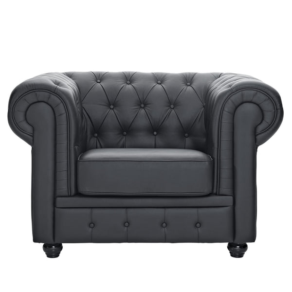 Chesterfield Leather Armchair - Black