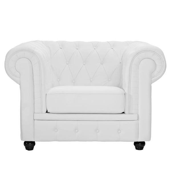 Chesterfield Leather Armchair - White