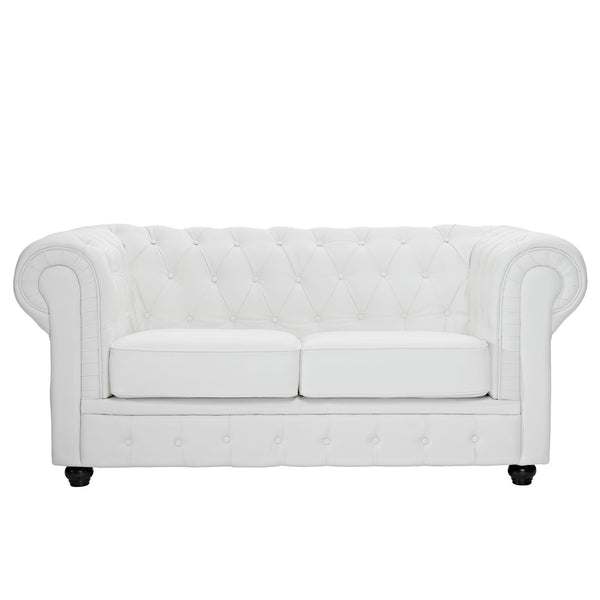 Chesterfield Leather Loveseat - White