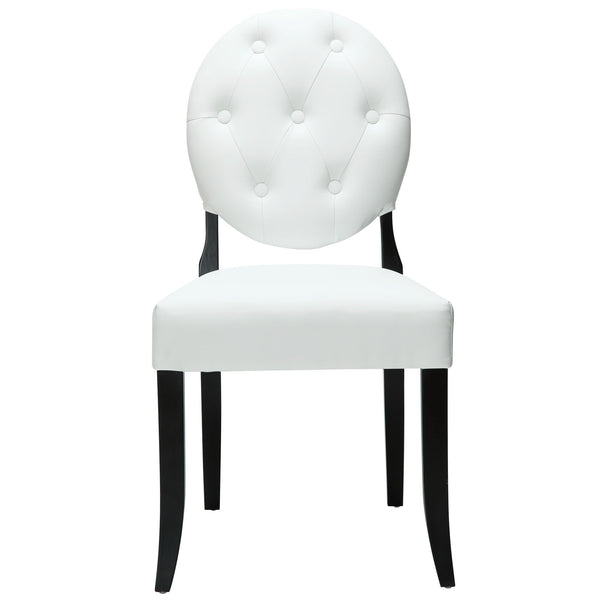 Button Dining Vinyl Side Chair - White