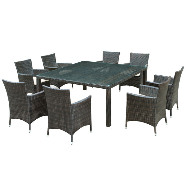 Channels 9 Piece Outdoor Patio Dining Set - Brown White