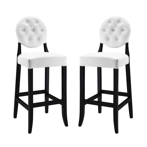Button Bar Stool Set of 2 - White