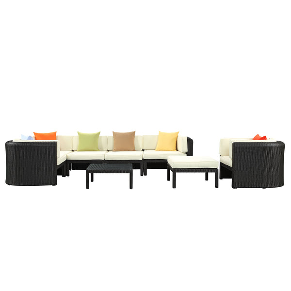 Bonaire 9 Piece Outdoor Patio Sectional Set - Espresso Multicolor