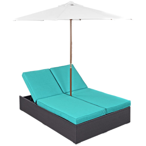 Arrival Outdoor Patio Chaise - Espresso Turquoise