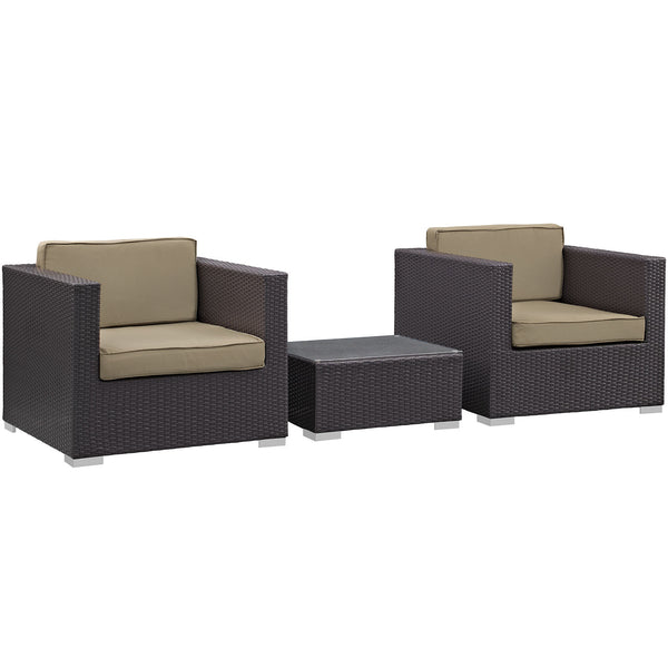 Burrow 3 Piece Outdoor Patio Sofa Set - Espresso Mocha