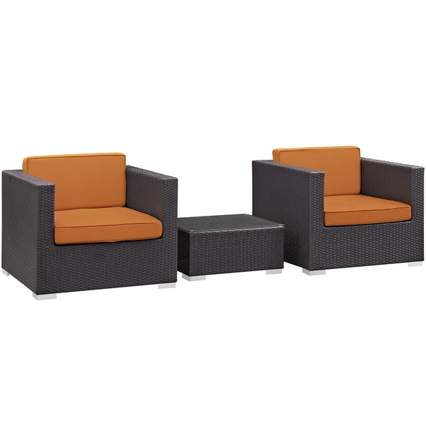 Burrow 3 Piece Outdoor Patio Sofa Set - Espresso Orange