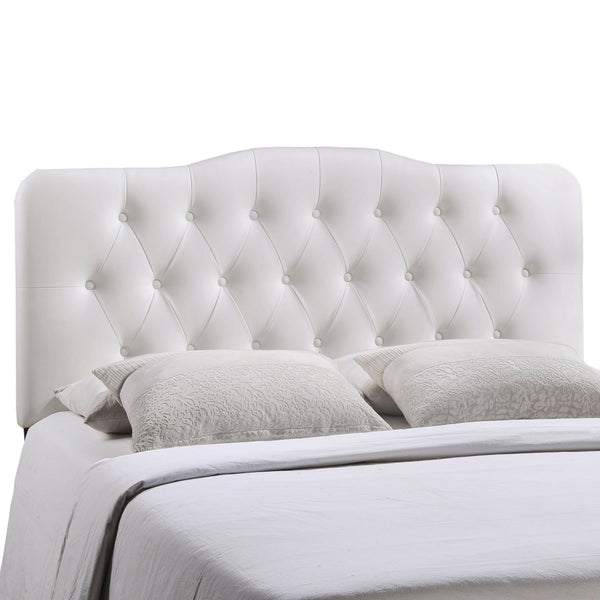 Annabel Queen Vinyl Headboard - White