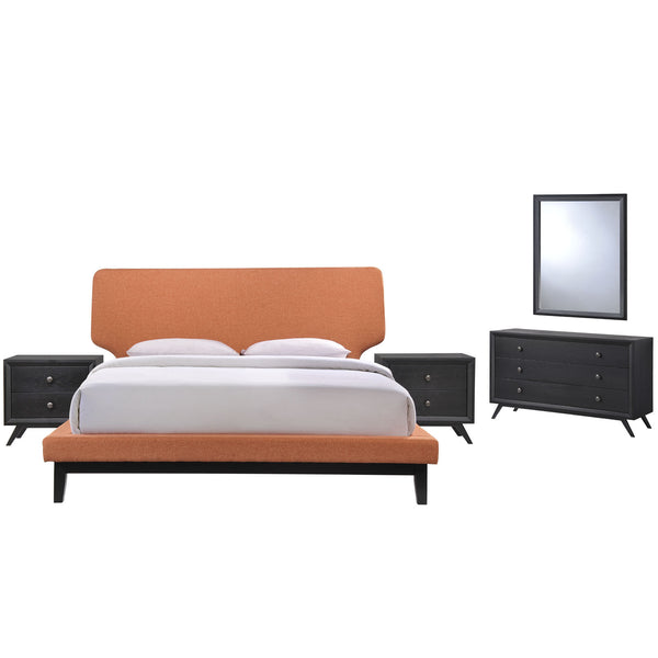 Bethany 5 Piece Queen Bedroom Set - Black Orange