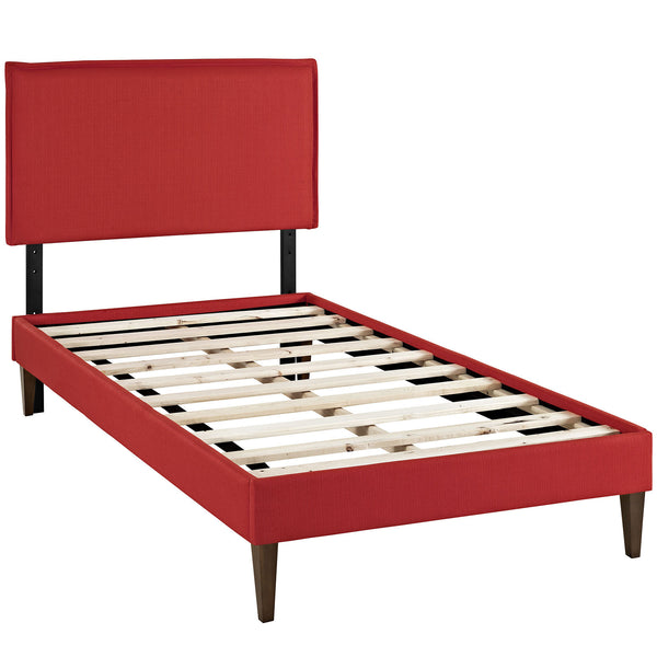 Camille Twin Fabric Platform Bed with Squared Tapered Legs - Atomic Red