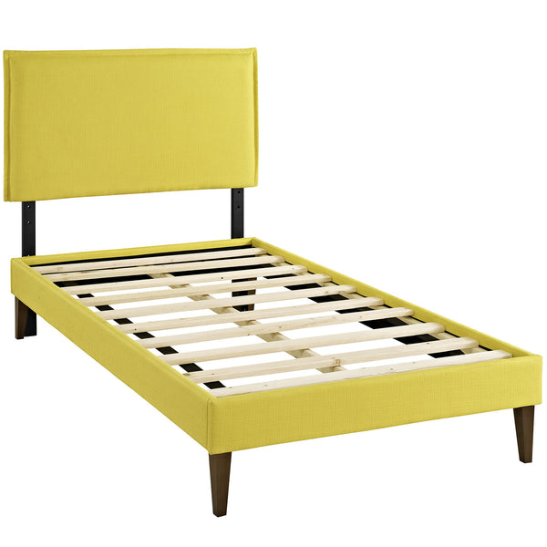 Camille Twin Fabric Platform Bed with Squared Tapered Legs - Sunny