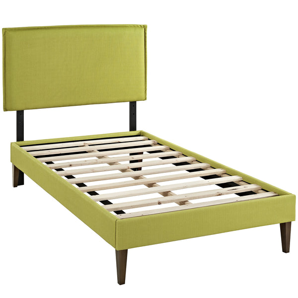 Camille Twin Fabric Platform Bed with Squared Tapered Legs - Wheatgrass