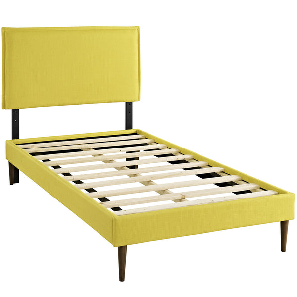 Camille Twin Fabric Platform Bed with Round Tapered Legs - Sunny