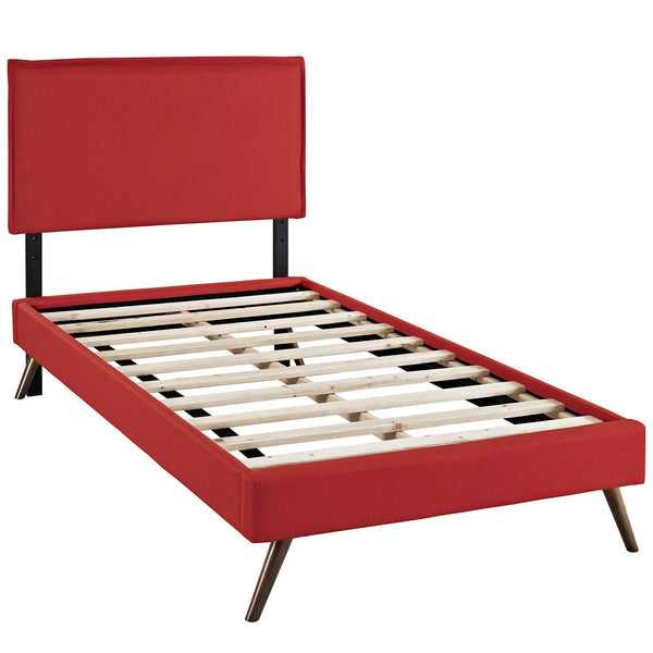 Camille Twin Fabric Platform Bed with Round Splayed Legs - Atomic Red