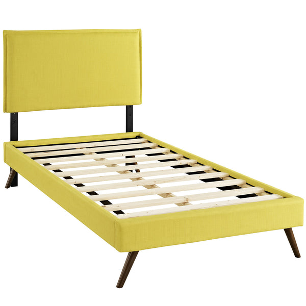 Camille Twin Fabric Platform Bed with Round Splayed Legs - Sunny