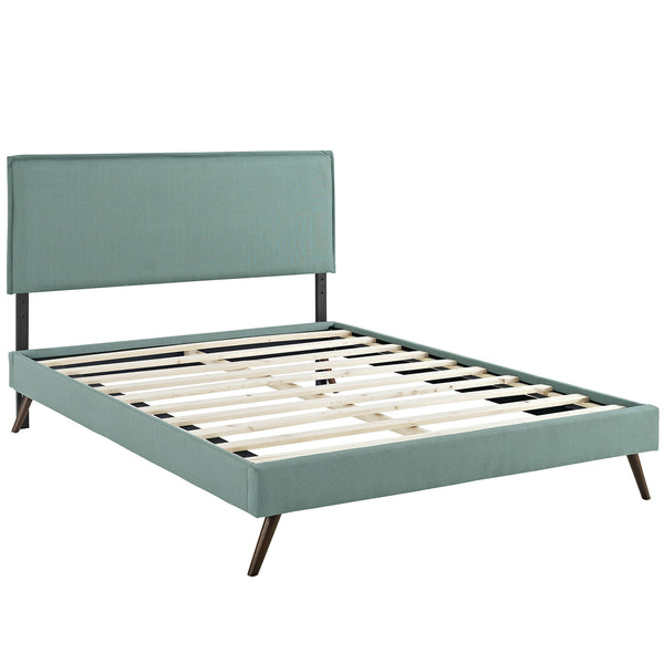 Camille Full Fabric Platform Bed with Round Splayed Legs - Laguna