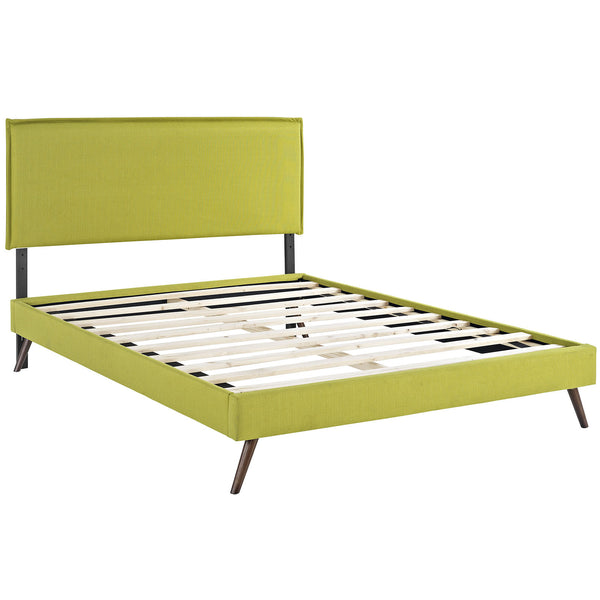 Camille Full Fabric Platform Bed with Round Splayed Legs - Wheatgrass
