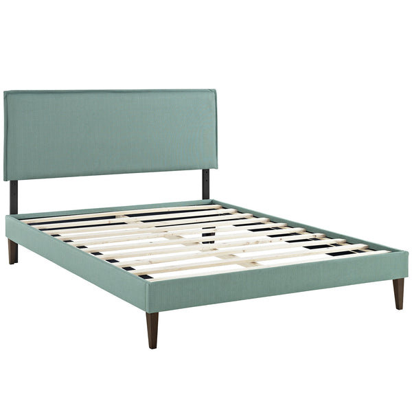 Camille King Fabric Platform Bed with Squared Tapered Legs - Laguna