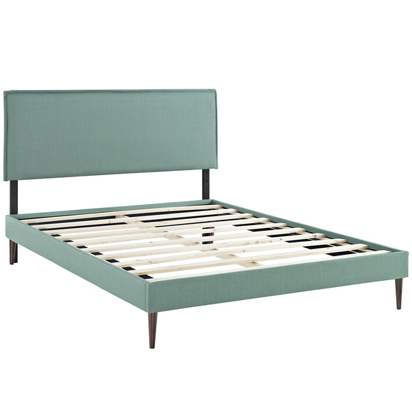 Camille King Fabric Platform Bed with Round Tapered Legs - Laguna