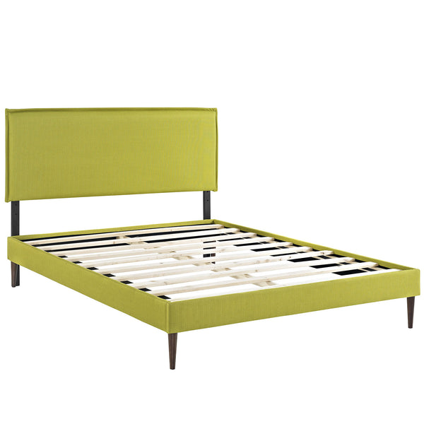 Camille King Fabric Platform Bed with Round Tapered Legs - Wheatgrass