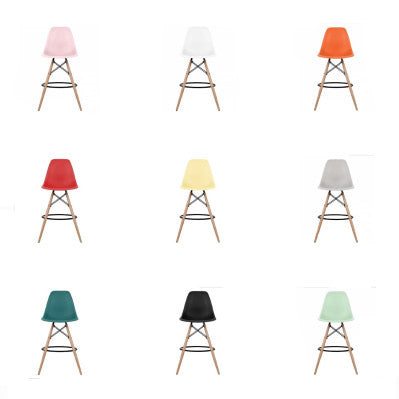 Eames Style Molded Plastic Dowel-Leg Counter Stool Wood Base (DSCX) Natural Legs