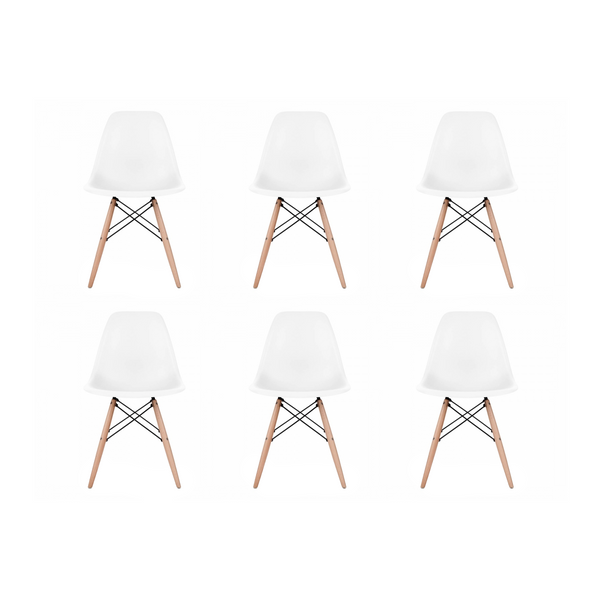 Set of 6 - White Eames Style Molded Plastic Dowel-Leg Dining Side Wood Base Chair (DSW) Natural Legs