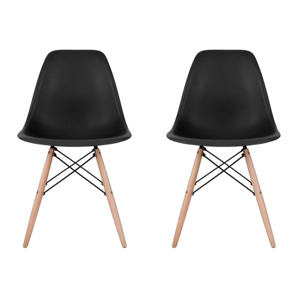 Set of 2 - Black Eames Style Molded Plastic Dowel-Leg Dining Side Wood Base Chair (DSW) Natural Legs