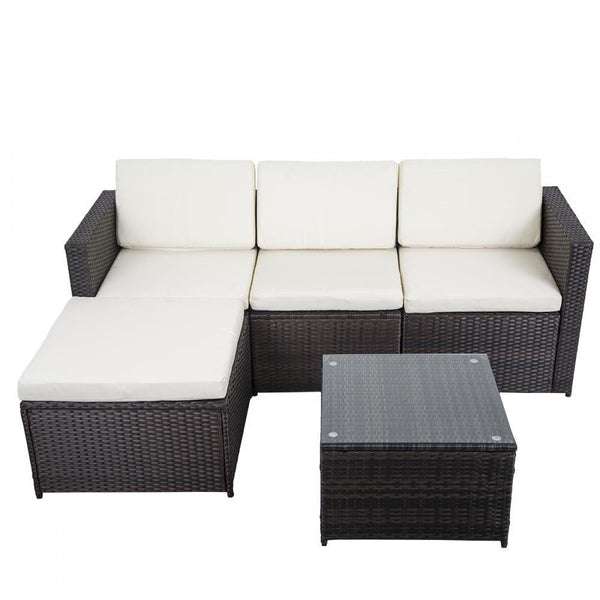 5 Piece Outdoor Patio Sofa Set - Brown w/ White Cushion