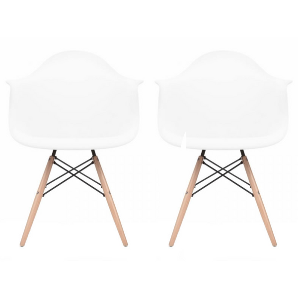 Set of 2 - White Eames Style Molded Plastic Dowel-Leg Dining Arm Wood Base Chair (DAW) Natural Legs