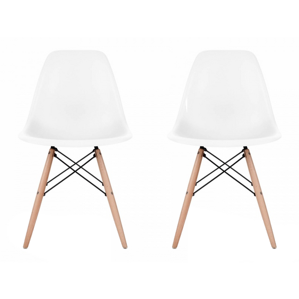 Set of 2 - White Eames Style Molded Plastic Dowel-Leg Dining Side Wood Base Chair (DSW) Natural Legs