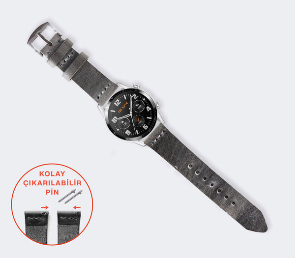 Huawei Watch Minimal Deri Kordon - Antik Gri