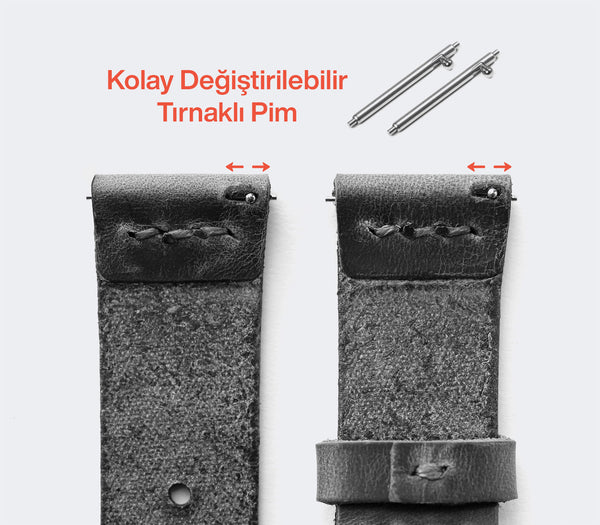 Samsung Watch Minimal Deri Kordon - Antik Gri