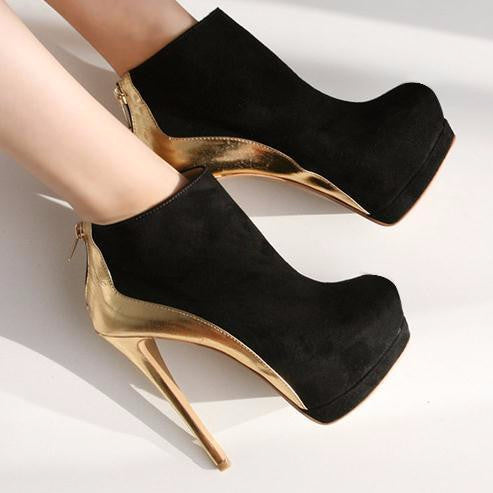 Lovely Black And Gold Bootie Stiletto High Heels