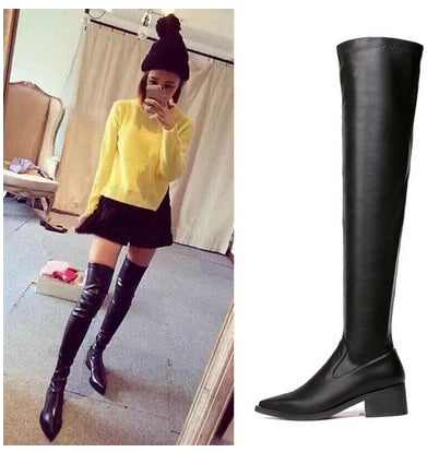 89a54c778847 Trendy Black Over Knee Leather Boots – Fashion Envy Co.