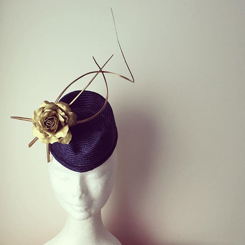 Navy and gold hostess hat by Maker Millinery