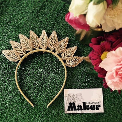 Gold lace and bead headband by Maker Millinery