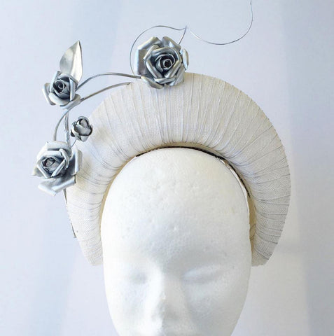 White and silver halo with silver leather flowers by Maker Millinery